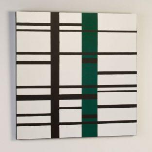 Lienzo Composición Blanco/Negro/Verde 100 x 100 cm.