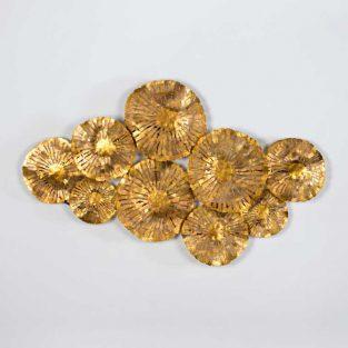 Escultura de Flores Metal Dorado