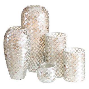 Juego Jarrones y portavela mosaico de cristal crema