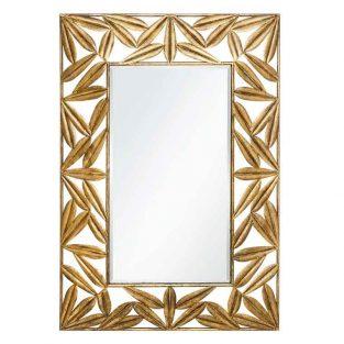 Espejo de hojas dorado decoración