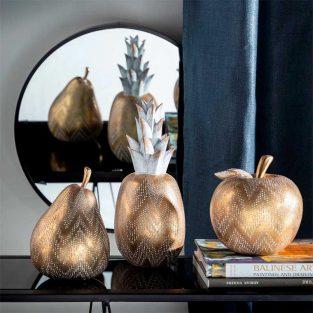 Figuras Decorativas Frutas Doradas