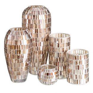 Juego Jarrones y Portavela mosaico de cristal beige y bronce