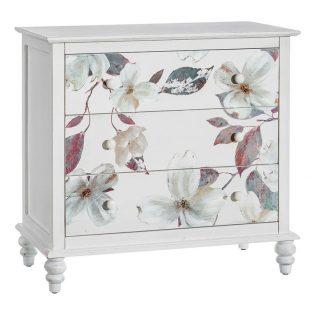 Cómoda Flores blanco pintada a mano