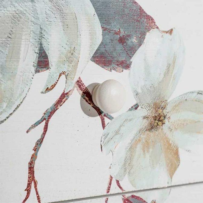Cómoda Flores blanco pintada a mano detalle flores