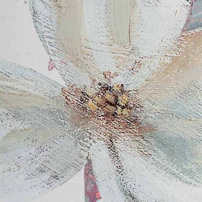 Cómoda Flores blanco pintada a mano detalle pintura
