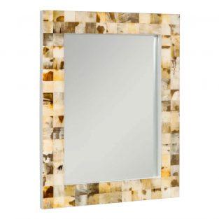 Espejo de diseño con piezas mosaico de asta natural