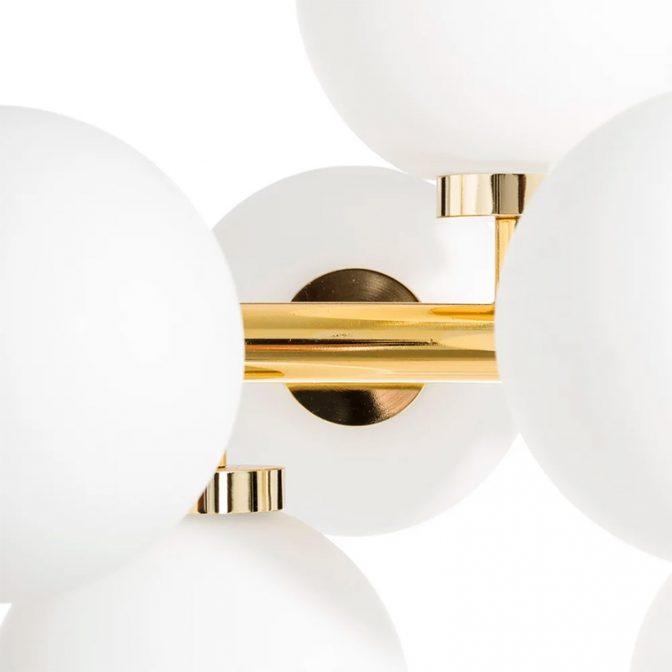 Lámpara techo vintage oro-blanco detalle