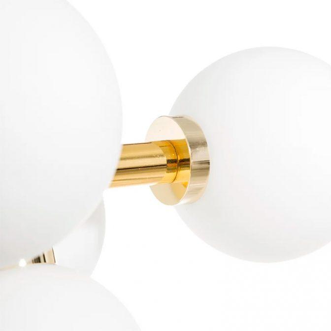 Lámpara techo vintage oro-blanco detalle globo
