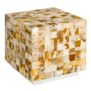 Mesa auxiliar mosaico de piezas de asta natural