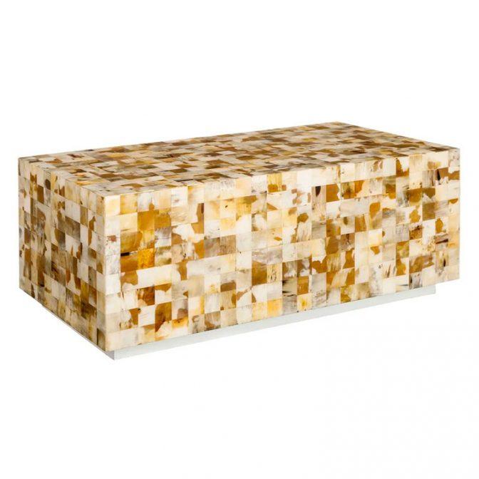 Mesa centro mosaico de piezas de asta natural