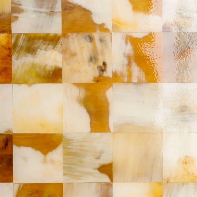 Mesa centro mosaico de piezas de asta natural detalle mosaico