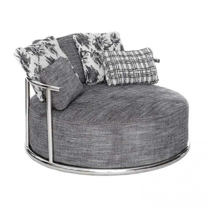 Sofá redondo de diseño Acero Inoxidable y Tela Gris con cojines variados