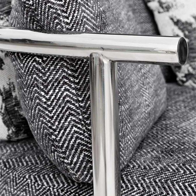 Sofá redondo de diseño Acero Inoxidable y Tela Gris con cojines variados detalle aluminio