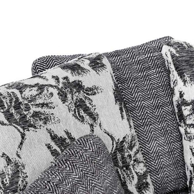 Sofá redondo de diseño Acero Inoxidable y Tela Gris con cojines variados detalle cojines